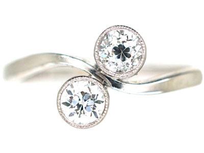 Edwardian 14ct White Gold Two Stone Diamond Crossover Ring