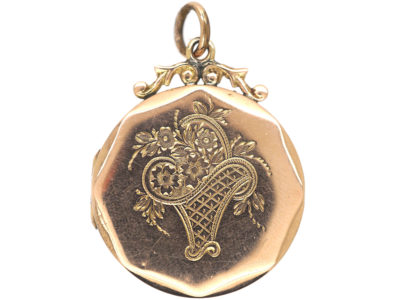 Edwardian 9ct Back & Front Octagonal Locket with Swallow & Flower Basket Motif