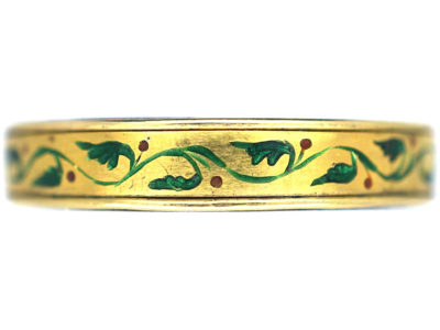 Victorian 18ct Gold Ring with Enamel Floral detailing