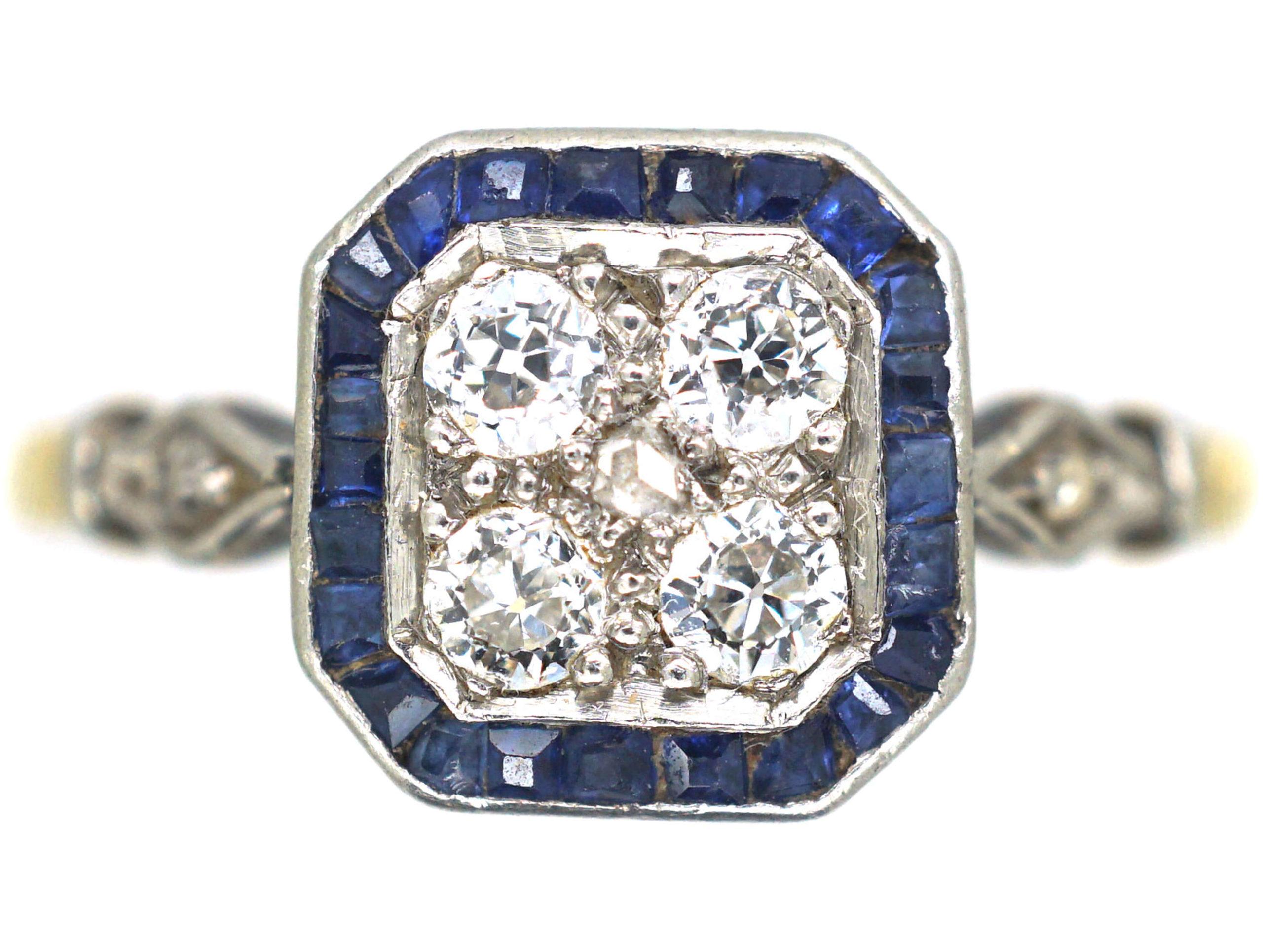 Art Deco 18ct Gold & Platinum, Sapphire & Diamond Octagonal Target Ring