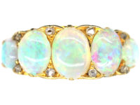 Edwardian 18ct Gold Half Carved Half Hoop Five Stone Opal Ring
