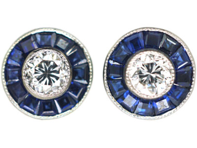 Art Deco 18ct White Gold, Sapphire & Diamond Target Earrings