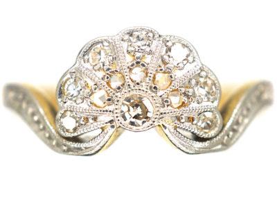 Art Deco 18ct Gold & Platinum, Diamond Fan Ring