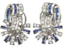 Art Deco 18ct White Gold, Sapphire & Diamond Clip On Earrings