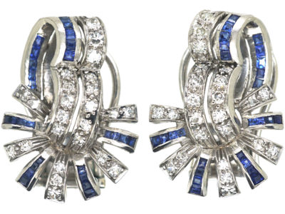 Art Deco 18ct White Gold, Sapphire & Diamond Clip On Earrings