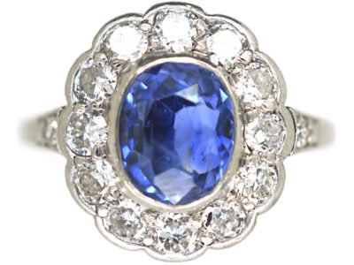 Early 20th Century Platinum, Sapphire & Diamond Cluster Ring