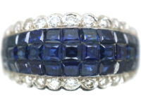 Art Deco French 18ct White Gold Invisible Set Sapphire & Diamond Ring