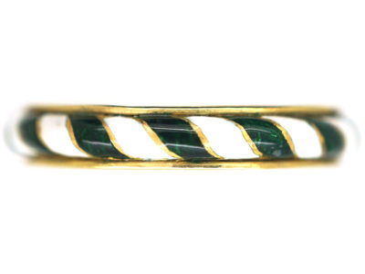 Victorian 18ct Gold Green & White Enamel Ring