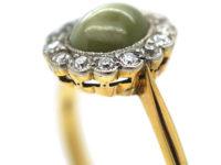 Edwardian 18ct Gold, Diamond & Cat's Eye Chrysoberyl Cluster Ring