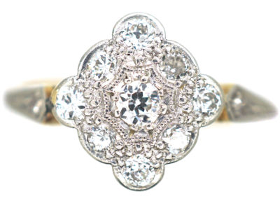 Edwardian 18ct Gold & Platinum,Diamond Shaped Diamond Cluster Ring