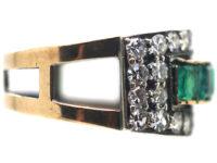 Art Deco 14ct Gold Emerald & Diamond Buckle Ring