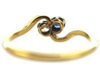 Edwardian 18ct Gold, Sapphire & Diamond Twist Ring