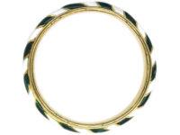 Victorian 18ct Gold Green & White Enamel Ring
