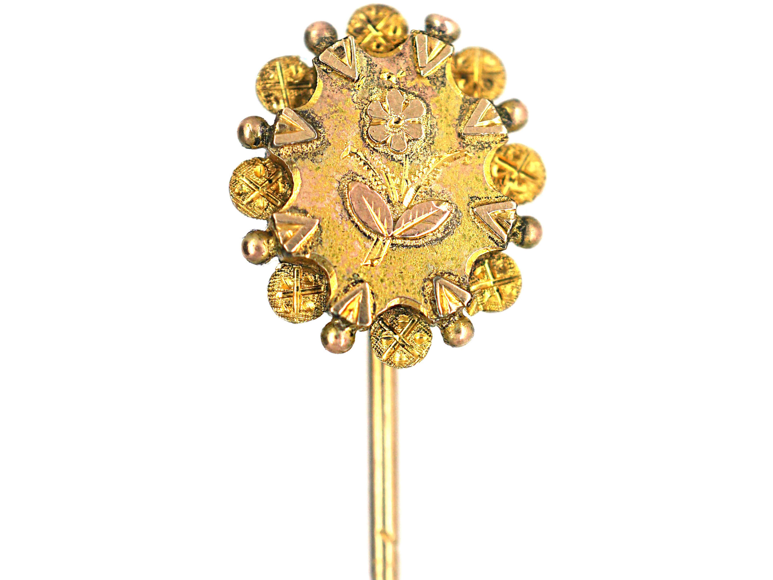 Victorian Two Coloured 9ct Gold Rose Motif Tie Pin