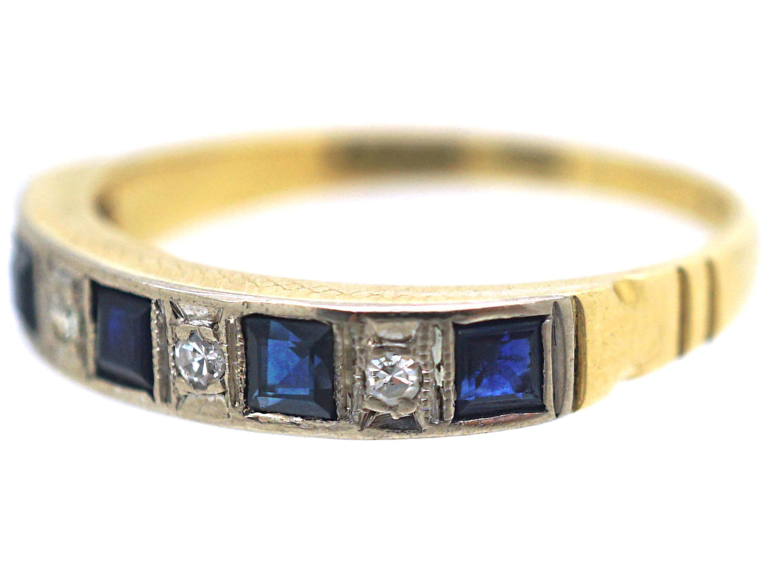 18ct Gold Sapphire & Diamond Half Eternity Ring