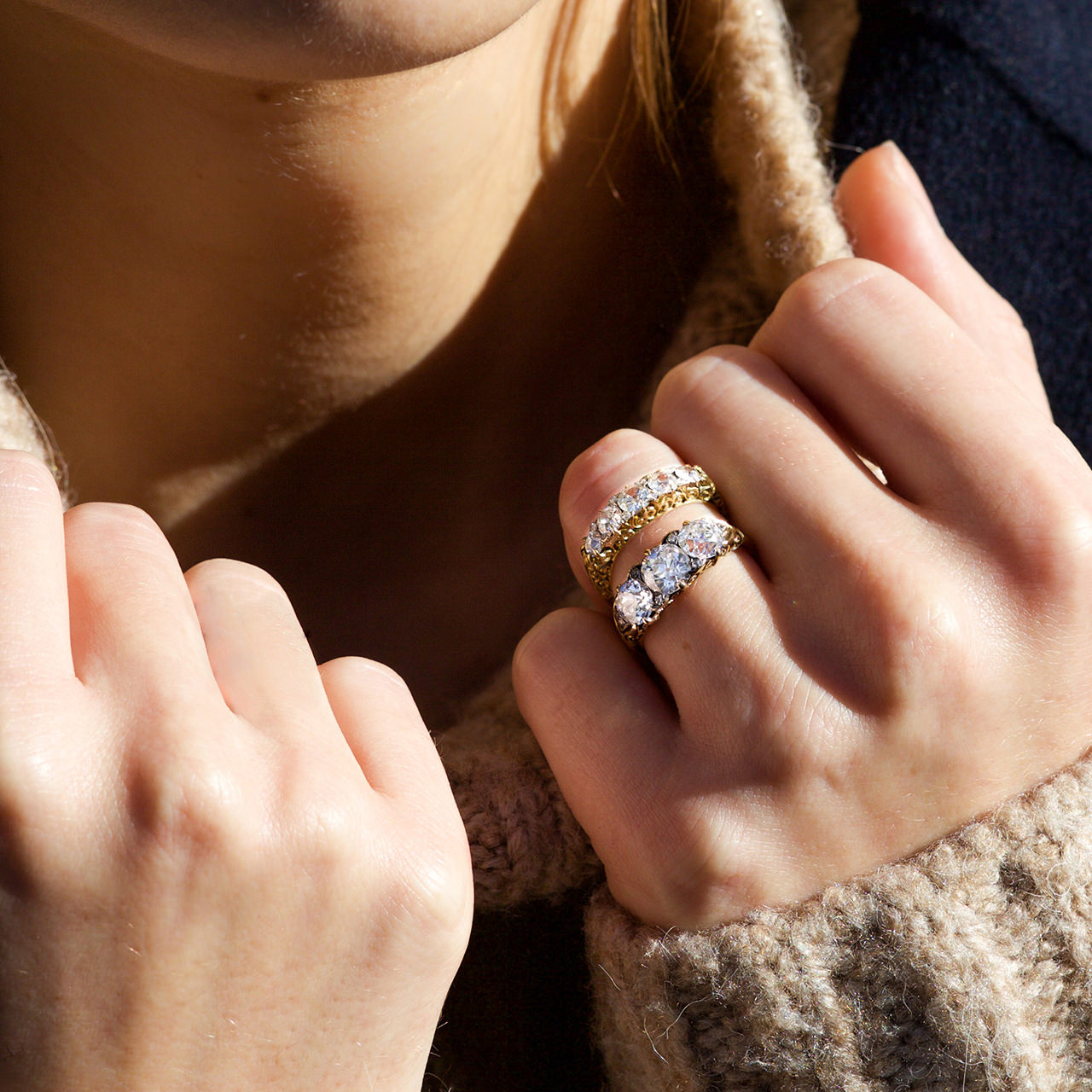 Victorian three stone and five stone rings