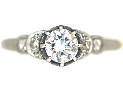 Art Deco 18ct Gold & Platinum Diamond Solitaire Ring with Diamond Shoulders