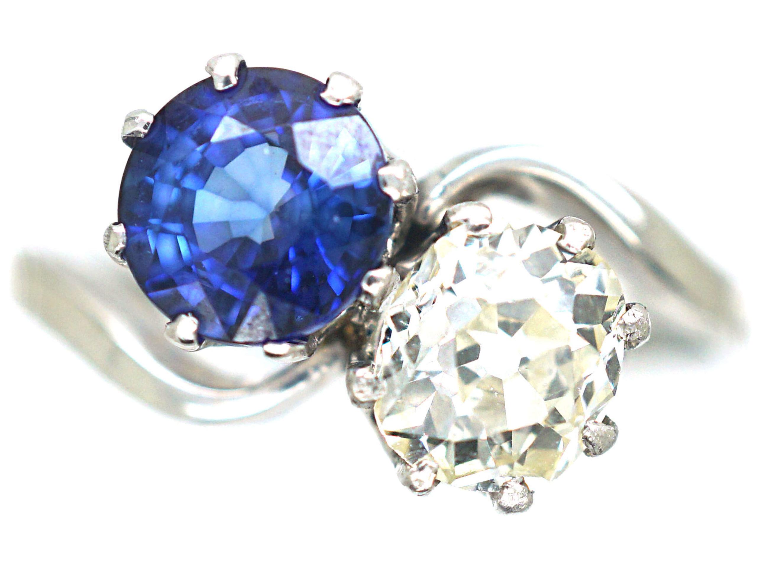 Art Deco Platinum, Sapphire & Diamond Crossover Ring