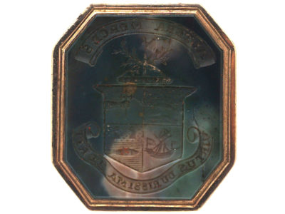 Georgian Gold & Agate Seal with Crest Intaglio of the Maclean Family