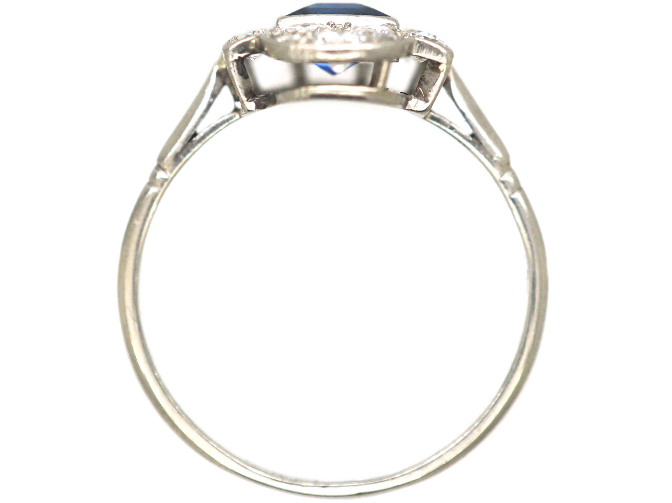 Art Deco Platinum, Sapphire & Diamond Geometric Ring