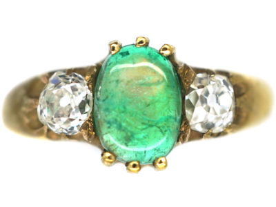 Victorian 18ct Gold Cabochon Emerald & Diamond Three Stone Ring