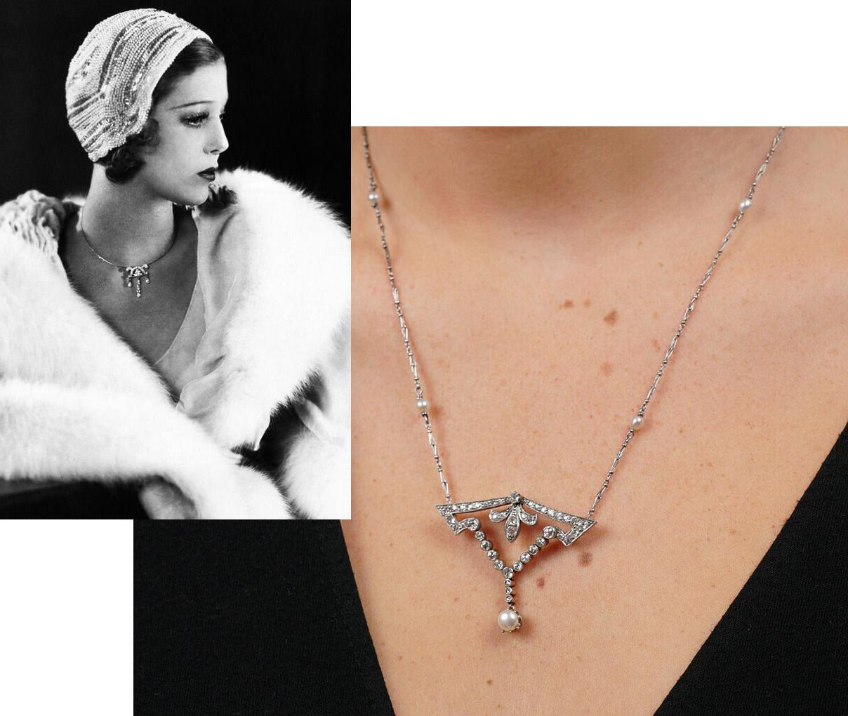 Art Deco Platinum, Natural Pearl & Diamond Pendant on Platinum & Natural Pearl Chain