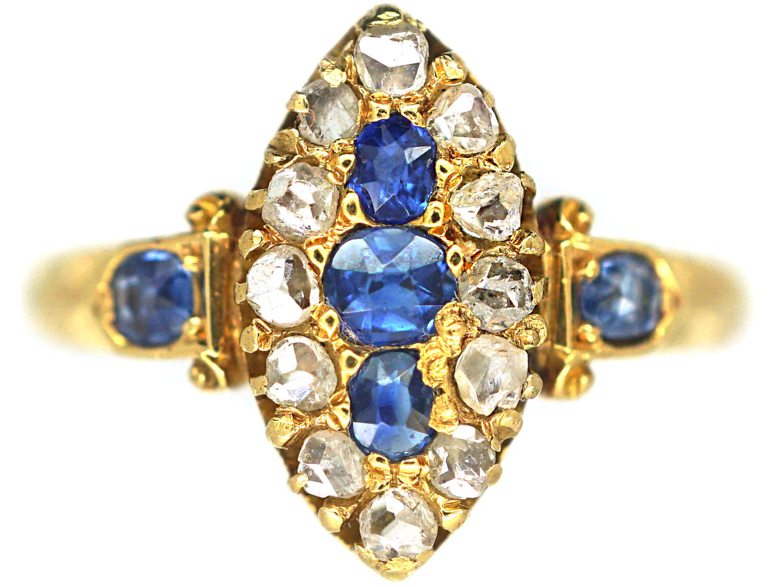 Victorian 18ct Gold Sapphire & Rose Cut Diamond Marquise Shaped Ring