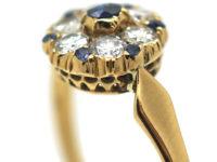 Edwardian 18ct Gold, Diamond & Sapphire Cluster Ring