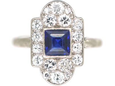 Art Deco Platinum, Sapphire & Diamond Geometric Ring