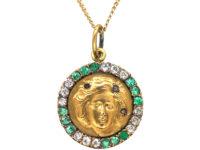 Art Nouveau 15ct Gold, Diamond & Emerald Pendant of a Lady on 9ct Gold Chain