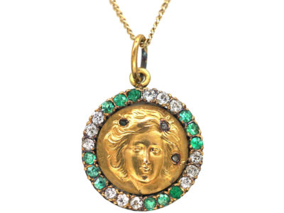 Art Nouveau 15ct Gold, Diamond & Emerald  Pendant of a Lady on 9ct Gold Chain