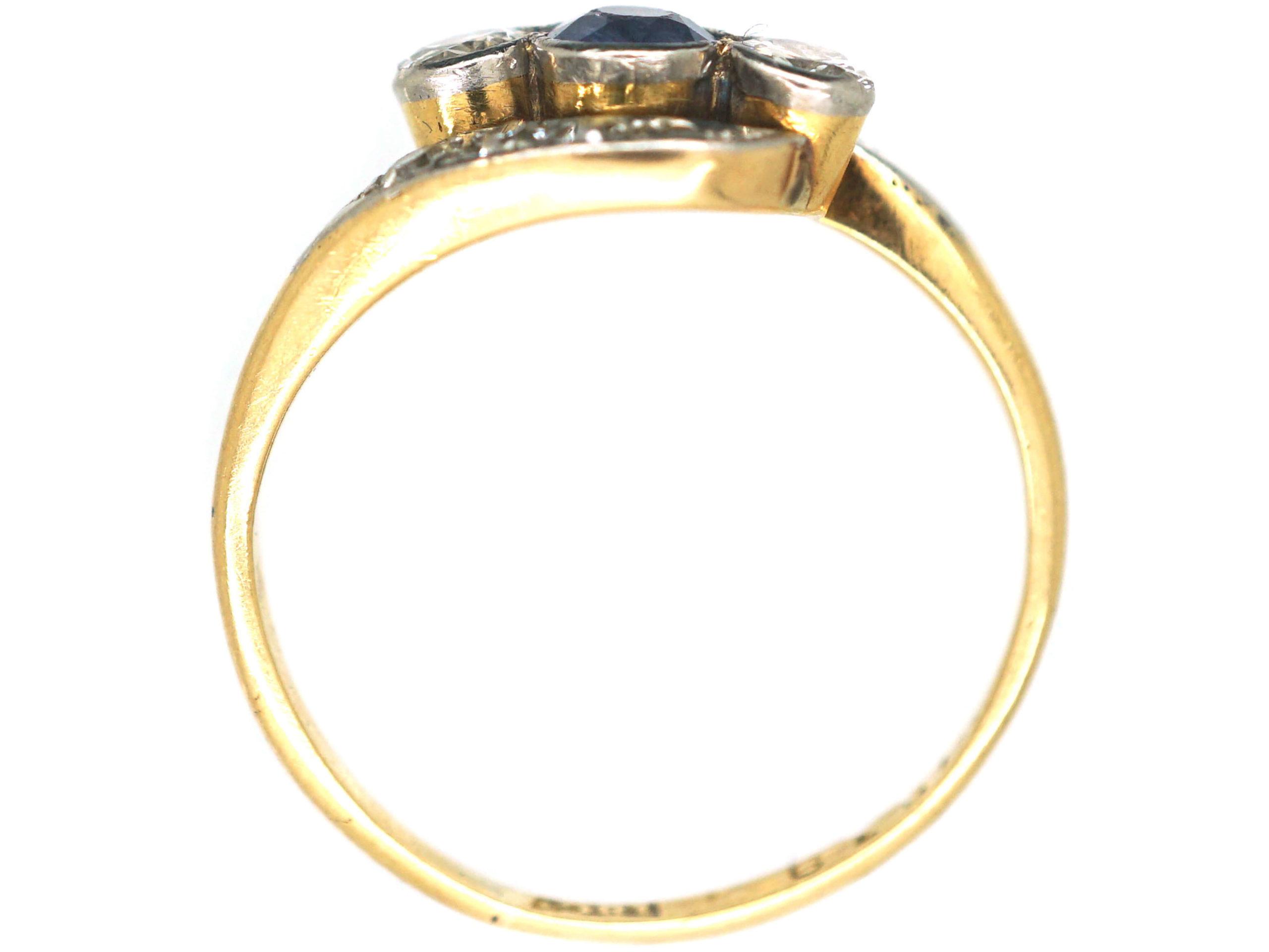 Edwardian 18ct Gold & Platinum Sapphire & Diamond Twist Ring