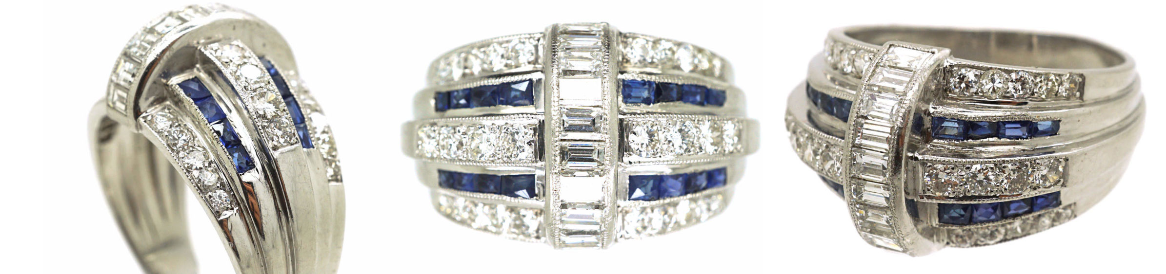 French Platinum, French Cut Sapphires & Diamond Bombé Ring