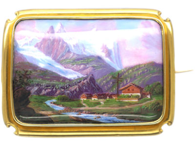15ct Gold & Swiss Enamel Brooch of a Swiss Mountain Scene