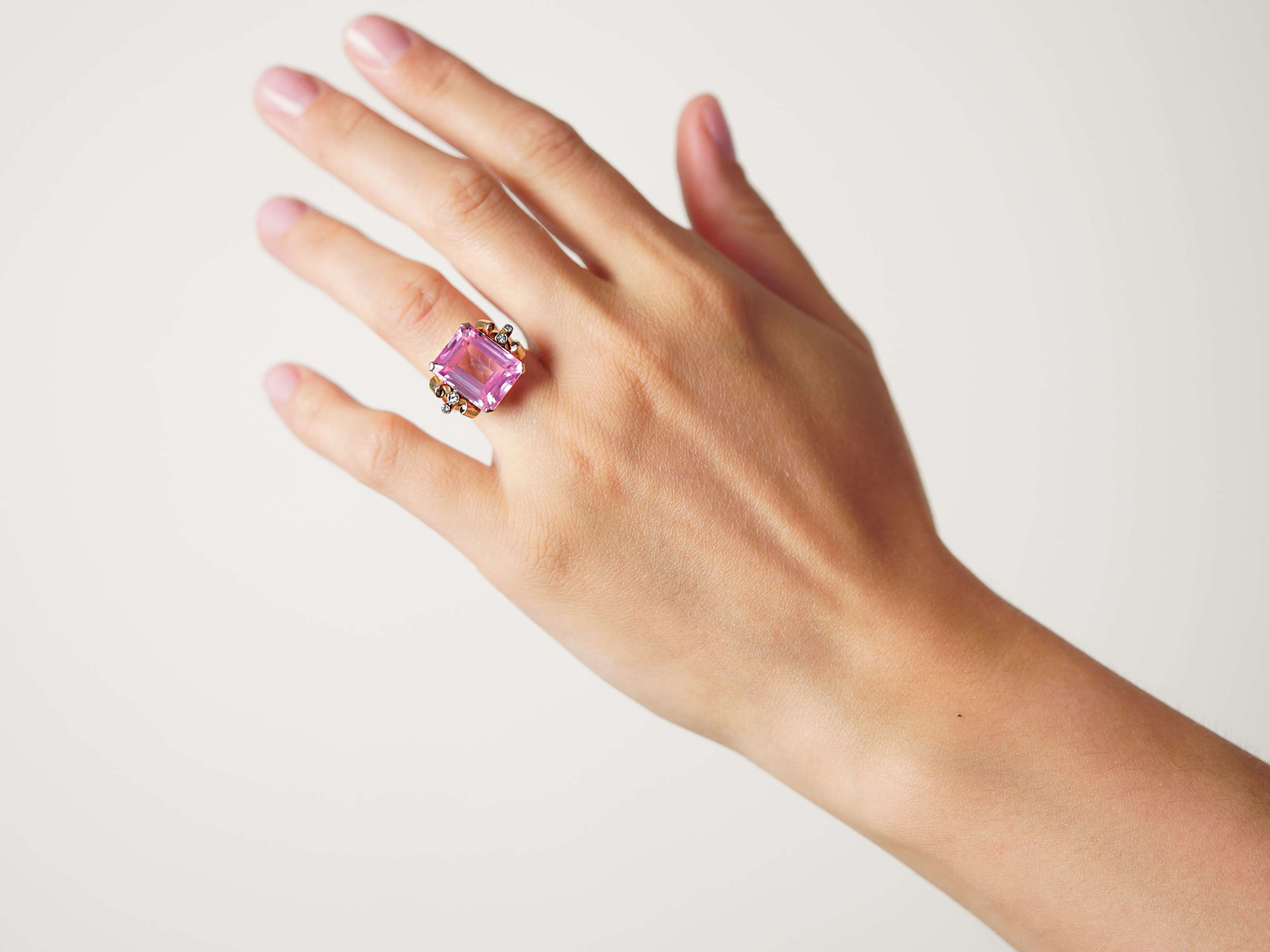Retro 14ct Gold, Synthetic Pink Sapphire with Diamond Set Shoulders