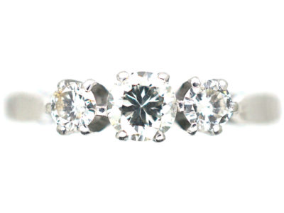Art Deco Platinum,Three Stone Diamond Ring