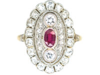 Art Deco 18ct Gold & Platinum, Ruby & Diamond Large Oval Cluster Ring