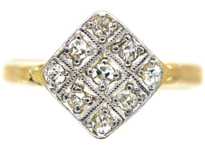 Art Deco 18ct Gold & Platinum, Diamond Shaped Diamond Set Ring