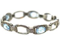 Art Deco Silver & Synthetic Blue Spinel Bracelet