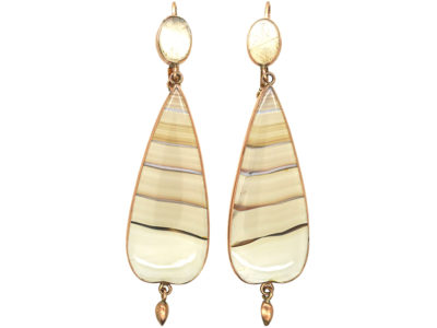 Georgian 9ct Gold & Banded Agate Drop Earrings