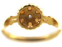 Edwardian 18ct Gold, Natural Pearl & Diamond Cluster Ring