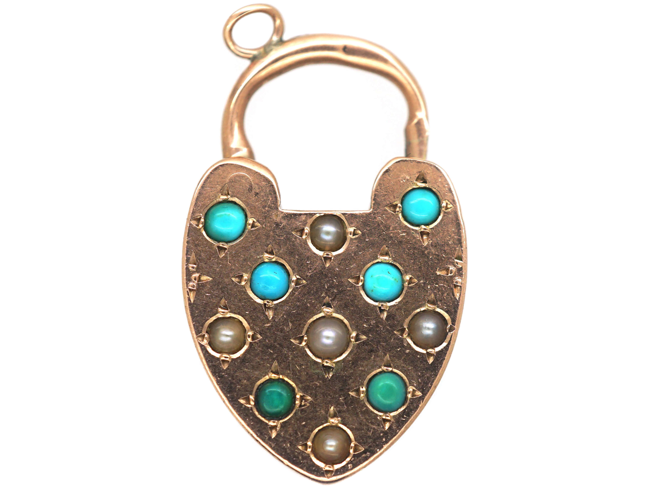 Victorian 9ct Gold Padlock set with Turquoise & Natural Split Pearls