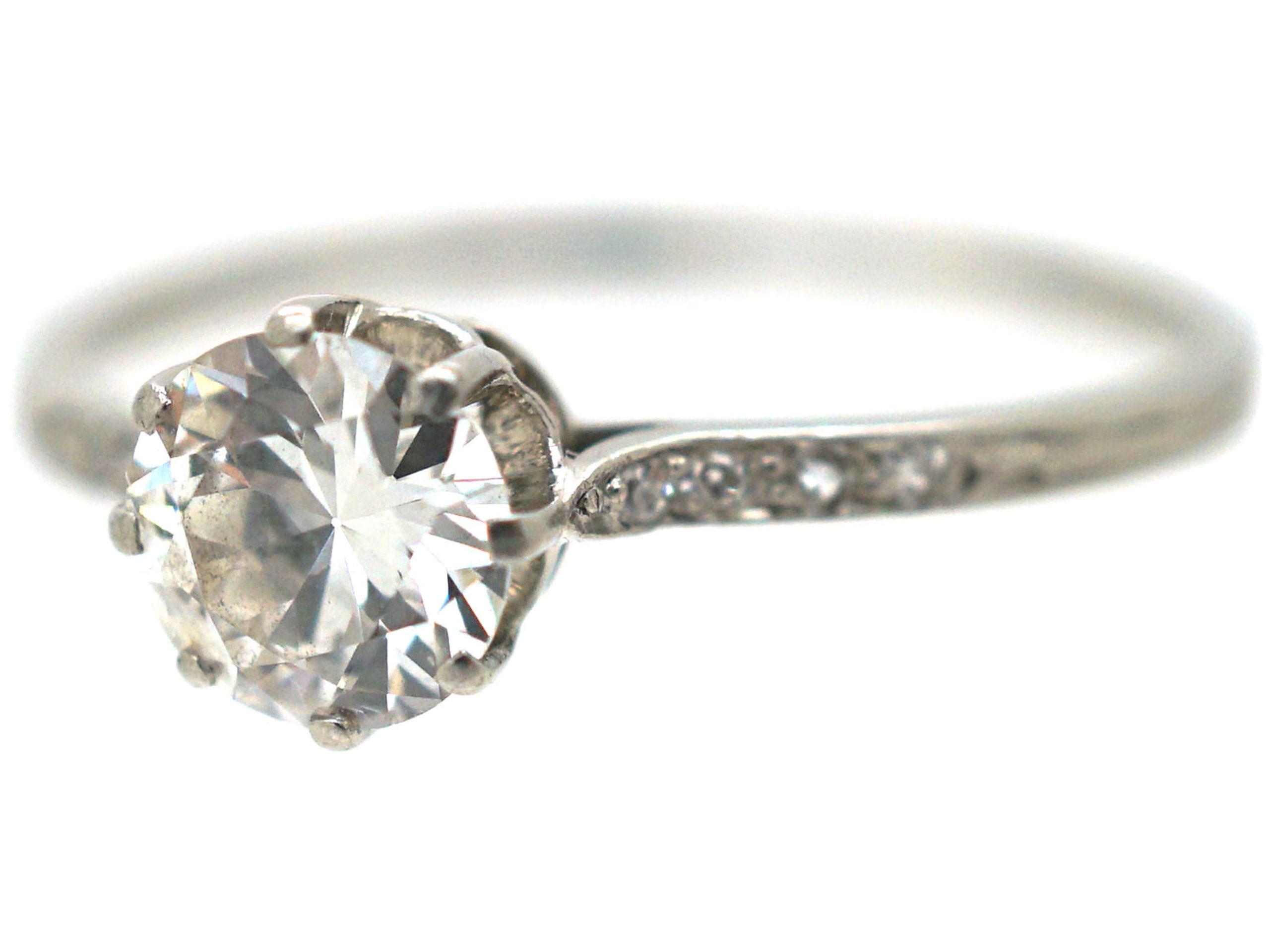Edwardian Platinum & Diamond Solitaire Ring with Diamond set Shoulders