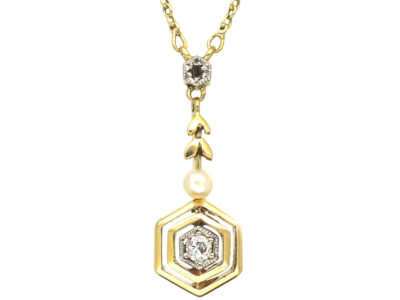 Art Deco 14ct Gold Diamond & Pearl Pendant on 14ct Gold Chain