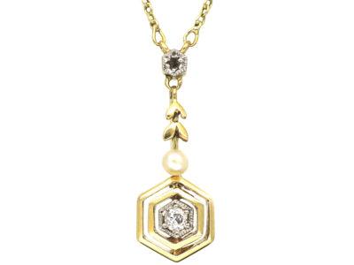 Art Deco 14ct Gold Diamond & Pearl Pendant on 14ct Gold Chain