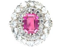 Platinum, Pink Sapphire & Diamond Large Oval Cluster Ring