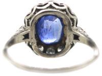 Early 20th Century Platinum, Sapphire & Diamond Cluster Ring