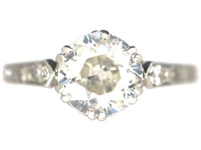 Art Deco Platinum Diamond Solitaire Ring with Diamond Shoulders