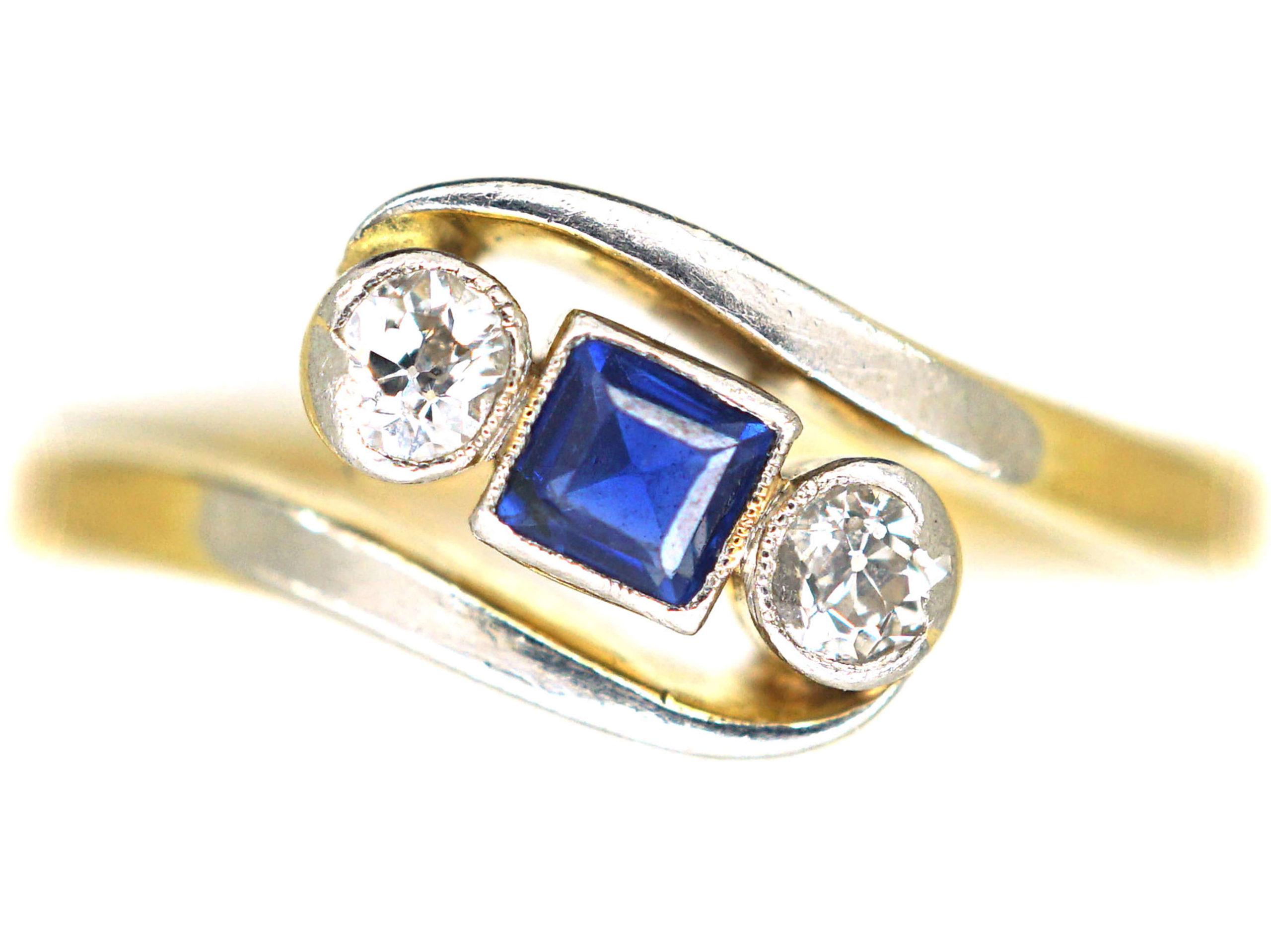 Art Deco 18ct Gold & Platinum, Diamond & Sapphire Crossover Ring