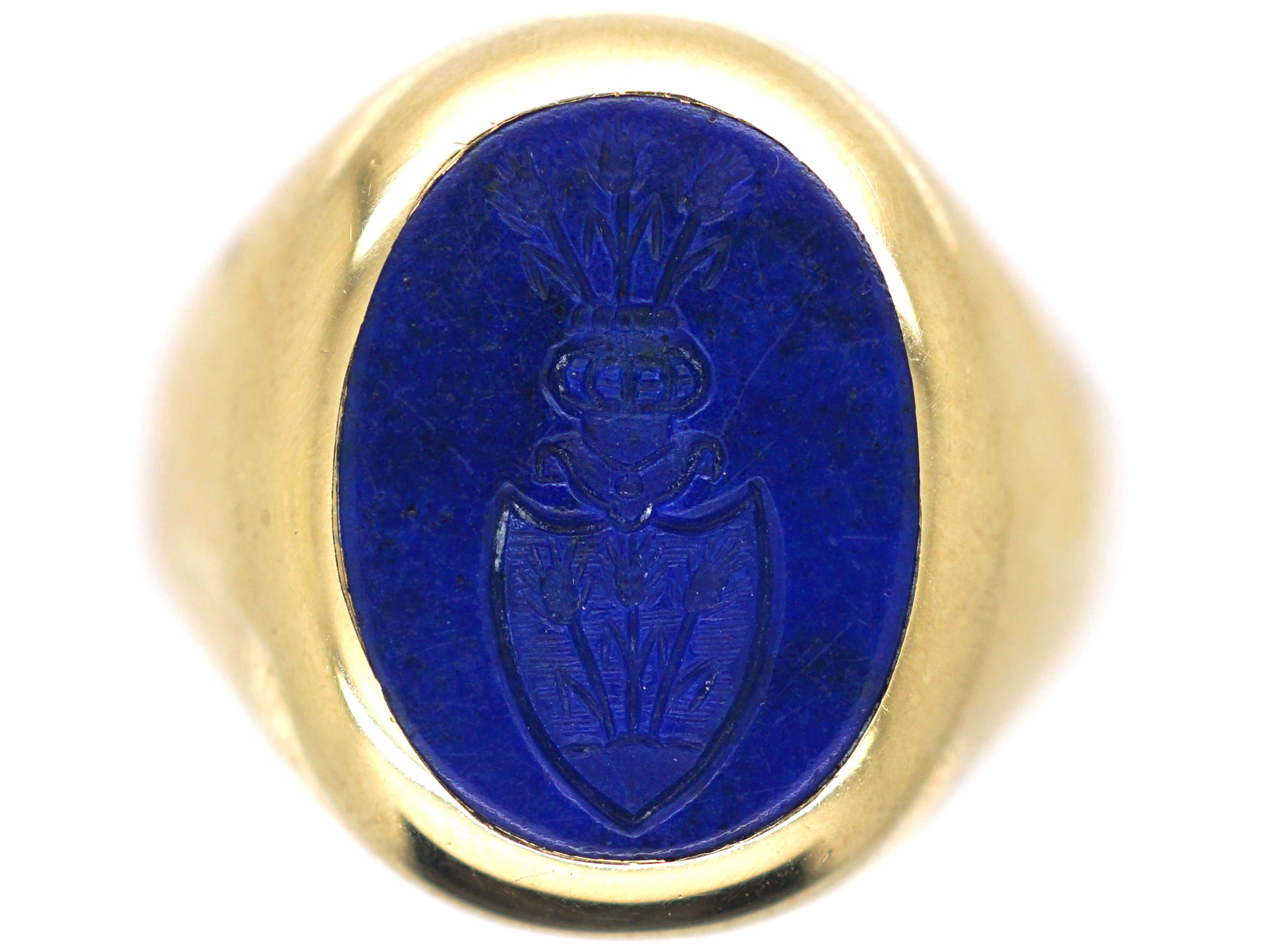 Gold Signet Ring with Lapis Lazuli Intaglio of a Crest